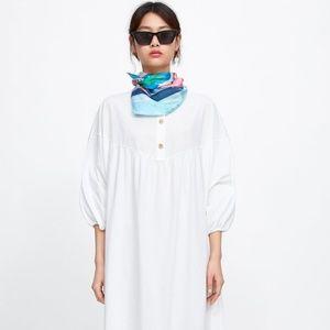 Nwt Zara Oversized Button Shirt Dress Sz. L Cotton